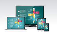 Computer monitor, laptop, tablet pc, and mobile smartphone with a blue background and colorful apps or infographics on a screen.