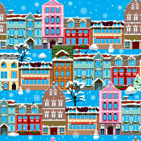 Winter houses in snow seamless pattern vector illustration