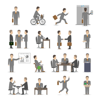 Office business people scenes set vector illustration