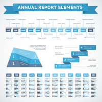Presentation infographics charts for financial measures and annual performance reports vector illustration