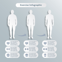 Infographic elements for men fitness and sports of healthcare weight loss power training vector illustration graphic elements