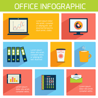 Office infographics flat business template with stationery supplies vector illustration