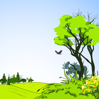 Forest border deciduous foliage tree with green grass meadow background eco poster sketch vector illustration 60016007151| 写真素材・ストックフォト・画像・イラスト素材|アマナイメージズ