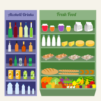 Supermarket shelves fresh food alcohol and drinks flat vector illustration