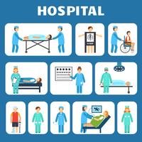 Medical hospital ambulance flat pictograms set isolated vector illustration