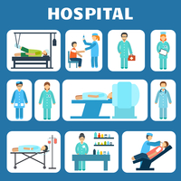 Medical hospital ambulance healthcare services flat pictograms set isolated vector illustration