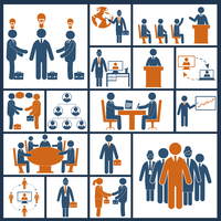 Business meeting brainstorming group discussion blue orange icons set isolated vector illustration 60016007167| 写真素材・ストックフォト・画像・イラスト素材|アマナイメージズ