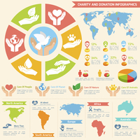 Charity donation social services and volunteer infographic set with charts and world map isolated vector illustration