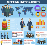 Business meeting brainstorming presentation discussion agreement infographics with charts vector illustration