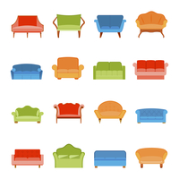 Sofa couches modern furniture icons flat set isolated vector illustration 60016007181| 写真素材・ストックフォト・画像・イラスト素材|アマナイメージズ