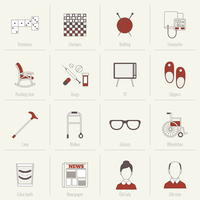 Pensioners life flat line icons set of dominoes checkers knitting isolated vector illustration 60016007182| 写真素材・ストックフォト・画像・イラスト素材|アマナイメージズ