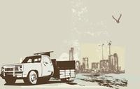 vector   illustration of vintage  truck on the grunge urban background