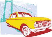 Vector Illustration of old vintage custom collector's car on grunge  urban background