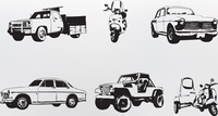 Silhouette cars. Vector illustration of old vintage custom collector's cars and motorcycle