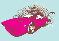 Vector Illustration of old vintage custom collector's car on grunge background .