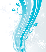 Surreal snowflakes design .  Blue abstract background with waves, ribbons and snowflakes. Vector illustration.