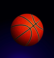Vector illustration of detailed basketball ball on gradient background