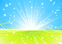 Vector illustration of Shining burst of stars and ribbons on abstract summer background.