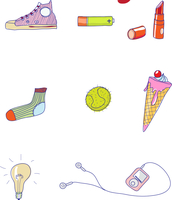 Set of funky hand-drawn elements of modern urban life. Vector illustration
