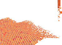 Vector illustration of organic wave surface made of orange squares