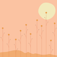 Vector illustration of   the sun is going down over the summer flowers on orange background
