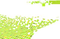 Vector illustration of organic wave surface made of green squares