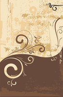 Vector illustration of floral  swirly  ornament    on urban grunge background