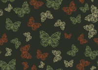 Vector illustration of many funky hand-drawn butterflies of different size  flying around  . Seamless Pattern.