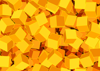Vector illustration of style orange seamless background made of many funky cubes