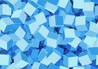 Vector illustration of style blue seamless background made of many funky cubes