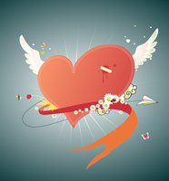Vector illustration of Cool funky red heart flying in the sky. Great for Valentine s Day and wedding postcards