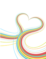 Vector illustrator of Colorful lines crossing each other on heart shape