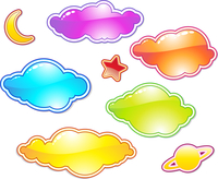 Vector illustration Set of color clouds. You can use this objects for chat box, labels, badges and decorate your work.