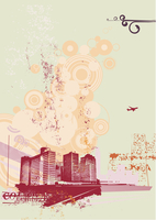 Urban retro abstract background, made in grunge style. Vector illustration