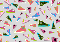 Retro Seamless Pattern made of cool hand-drawn sport shoes in different colors. Vector illustration
