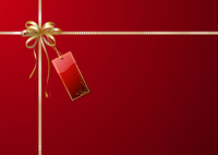 Vector illustration of shiny gift wrapping with golden ribbon, bow and red empty tag 60016008048| 写真素材・ストックフォト・画像・イラスト素材|アマナイメージズ