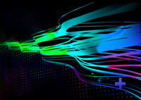 Vector illustration of wavy curved colored lines on dotted black background.