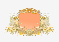 Vector illustration of retro styled design frame made of floral and ornamental elements. 60016008070  写真素材・ストックフォト・画像・イラスト素材 アマナイメージズ
