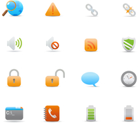 Vector illustration set of elegant  simple icons for common computer functions