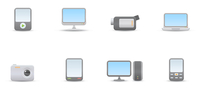Vector illustration set of elegant simple icons for common digital media devices