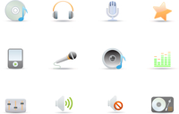 Vector illustration set of elegant simple icons for common digital music media