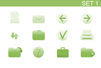 Vector illustration set of elegant simple icons for common computer functions. Set-1