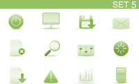 Vector illustration set of elegant simple icons for common computer and media devices functions. Set-5