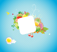 Vector illustration of funky styled design frame made of floral and fruity elements