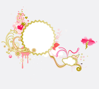 Vector illustration of retro styled design frame made of floral elements and funky hearts
