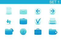 Vector illustration set of blue elegant simple icons for common computer functions. Set-1