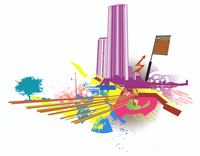 Vector illustration of style urban background