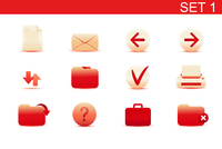 Vector illustration set of red elegant simple icons for common computer functions. Set-1