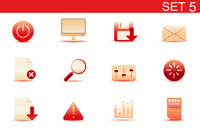 Vector illustration set of red elegant simple icons for common computer and media devices functions. Set-5