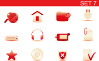 Vector illustration set of red elegant simple icons for common computer and media devices functions. Set-7 60016008265| 写真素材・ストックフォト・画像・イラスト素材|アマナイメージズ